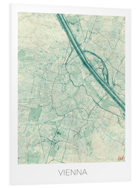 Foam board print  Map of Vienna, blue - Hubert Roguski