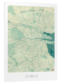 Foam board print  Dublin Map Blue - Hubert Roguski