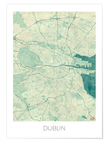 Premium poster Dublin Map Blue