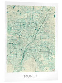 Acrylic glass  Munich Map Blue - Hubert Roguski