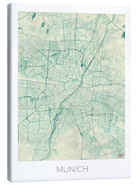 Canvas  Munich Map Blue - Hubert Roguski