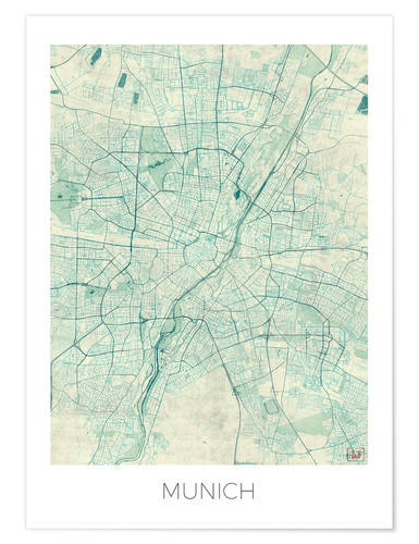 Poster Munich Map Blue