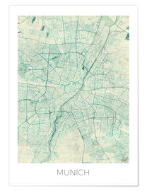 Poster  Munich Map Blue - Hubert Roguski