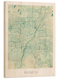 Wood  Munich Map Blue - Hubert Roguski
