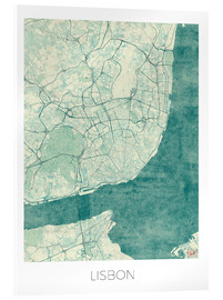 Acrylic glass  Lisbon Map Blue - Hubert Roguski