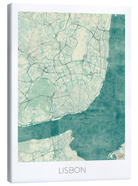 Canvas print  Lisbon map blue - Hubert Roguski
