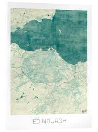 Acrylic print  Edinburgh Map Blue - Hubert Roguski