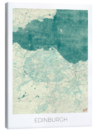 Canvas  Edinburgh Map Blue - Hubert Roguski