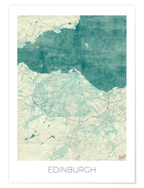 Premium poster  Edinburgh Map Blue - Hubert Roguski
