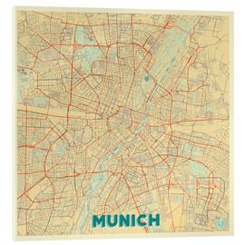 Acrylic glass  Munich Map Retro - Hubert Roguski