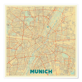 Poster  Munich Map Retro - Hubert Roguski