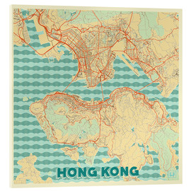 Acrylic print  HongKong Map Retro - Hubert Roguski