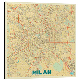 Aluminium print  Milan Map Retro - Hubert Roguski