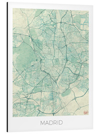 Aluminium print  Map of Madrid, blue - Hubert Roguski