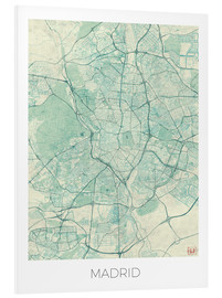 Foam board print  Map of Madrid, blue - Hubert Roguski