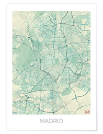 Premium poster  Map of Madrid, blue - Hubert Roguski