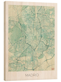 Wood  Madrid, Spain Map Blue - Hubert Roguski