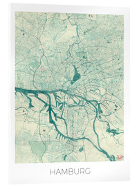Acrylic glass  Hamburg, Germany map blue - Hubert Roguski