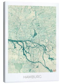 Canvas print  Hamburg, Germany map blue - Hubert Roguski