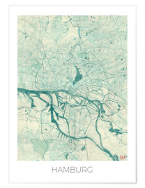 Premium poster  Hamburg, Germany map blue - Hubert Roguski
