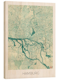 Wood print  Hamburg, Germany map blue - Hubert Roguski
