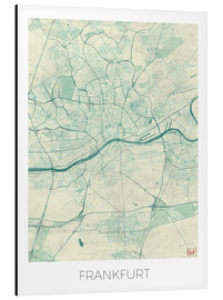 Aluminium print  Frankfurt, Germany Map Blue - Hubert Roguski