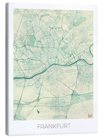 Canvas  Frankfurt, Germany Map Blue - Hubert Roguski