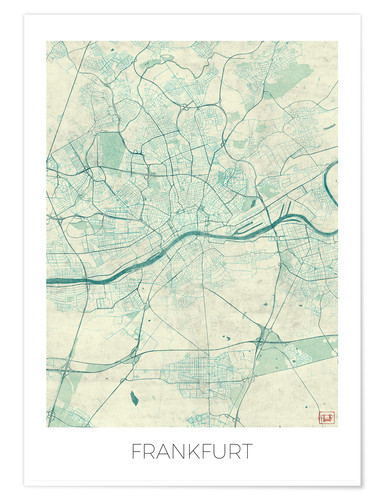 Hubert Roguski Frankfurt Germany Map Blue Poster Posterlounge