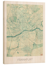 Wood  Frankfurt, Germany Map Blue - Hubert Roguski