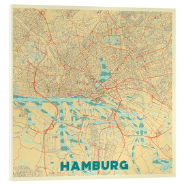 Acrylic print  Hamburg, Germany Map Retro - Hubert Roguski