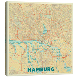 Canvas print  Hamburg, Germany Map Retro - Hubert Roguski
