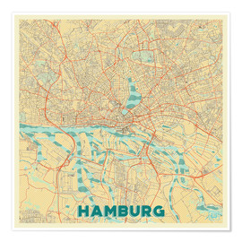 Poster Hamburg, Germany Map Retro