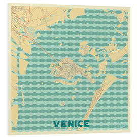 Foam board print  Venice, Italy Map Retro - Hubert Roguski