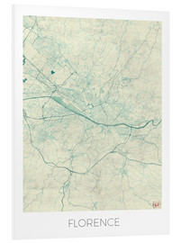 Foam board print  Florence, Italy Map Blue - Hubert Roguski