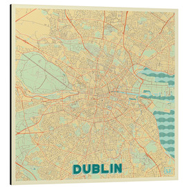 Aluminium print  Dublin, Ireland Map Retro - Hubert Roguski