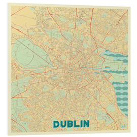 Foam board print  Dublin, Ireland Map Retro - Hubert Roguski