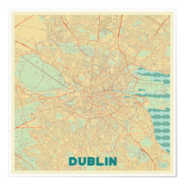 Premium poster Dublin, Ireland Map Retro