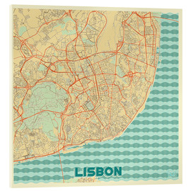 Acrylic print  Lisbon, Portugal Map Retro - Hubert Roguski