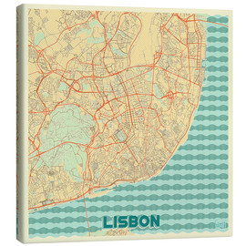 Canvas  Lisbon, Portugal Map Retro - Hubert Roguski