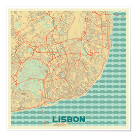 Premium poster Lisbon, Portugal Map Retro