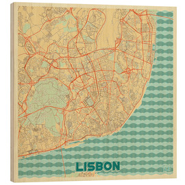 Wood print  Lisbon, Portugal Map Retro - Hubert Roguski