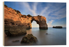 Wood print  Grottos at the Algarve - Jörg Gamroth
