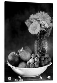 Acrylic print  Still life with apples and grapes noir - K&L Food Style