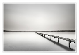 Premium poster Langer Steg monochrome to the horizon