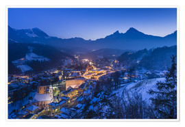 Premium poster  View of the town in the evening on Jenner and Watzmann - Udo Siebig