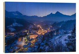 Wood print  View of the town in the evening on Jenner and Watzmann - Udo Siebig