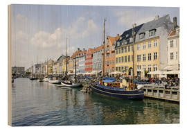 Wood print  Nyhavn entertainment district, Copenhagen - Axel Schmies