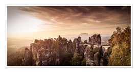Premium poster View to the bridge of the Basle in Saxon Switzerland