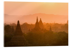 Acrylic glass  Sunrise over the ancient temples of Bagan II - Harry Marx