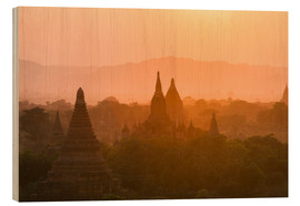 Wood print  Sunrise over the ancient temples of Bagan II - Harry Marx
